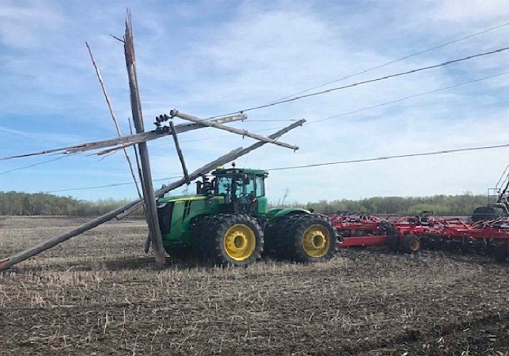 In 2020, there were 188 cases where a cultivator, seeder or another implement crashed into a pole or snagged a wire somewhere in the province.