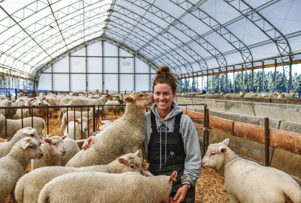 Sandi Brock in her sheep barn.