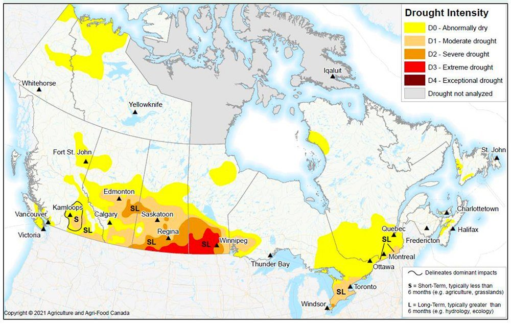 According to the nationwide map released May 7, southwestern Manitoba, parts of southern Saskatchewan and the southeastern corner of Alberta are under CDM