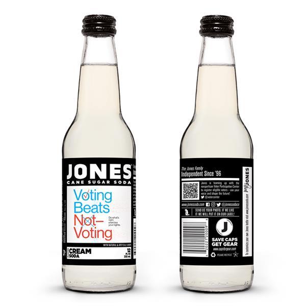 Jones Soda's Vote 2020 bottles